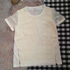 Calvin Klein cream ivory blouse texture zipper Med